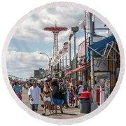 Coney Island Boardwalk II Round Beach Towel