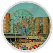 Coney Island Round Beach Towel