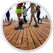 Coney Island Encounters Round Beach Towel