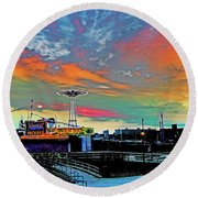 Coney Island In Living Color Round Beach Towel