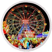 Coney Island Magic In Neon Round Beach Towel