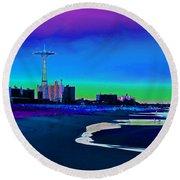 Coney Island Parachute Jump And Beach Round Beach Towel