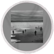 Coney Island Walkers Round Beach Towel by Eric Lake