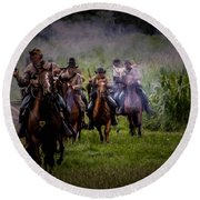 Confederate Cavalry Charge Round Beach Towel