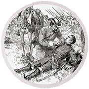 Confederate General John Brown Gordon Assists Wounded Union General Francis Channing Barlow Round Beach Towel