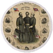 Confederate Generals Of The Civil War Round Beach Towel by War Is Hell Store