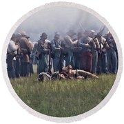 Confederate Infantry Skirmish  Round Beach Towel