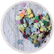 Confetti Heart Round Beach Towel by Nailia Schwarz