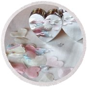 Confetti Hearts Round Beach Towel