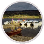 Coniston Water Boats Round Beach Towel
