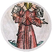 Conjoined Twins, Nuremberg Chronicle Round Beach Towel