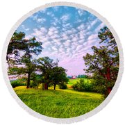 Conley Road Meadow, Oaks, Barn, Spring  Round Beach Towel