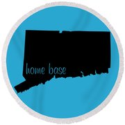 Connecticut Is Home Base Black Round Beach Towel