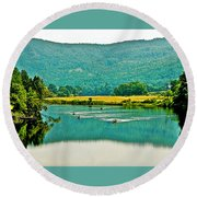 Connecticut River Between New Hampshire And Vermont Round Beach Towel