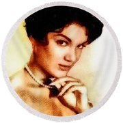 Connie Francis, Music Legend By John Springfield Round Beach Towel