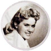 Connie Stevens, Vintage Actress Round Beach Towel