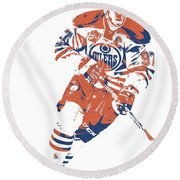 Connor Mcdavid Edmonton Oilers Pixel Art 6 Round Beach Towel