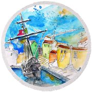 Conquistador Boat In Portugal Round Beach Towel