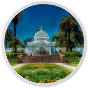 Conservatory Of Flowers - San Francisco Round Beach Towel