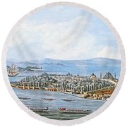 Constantinople Ships Round Beach Towel