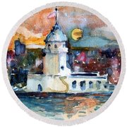 Constantinople Turkey Round Beach Towel