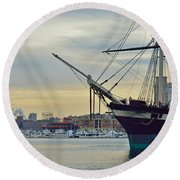 Uss Constellation And Domino Sugars - Sloop Of War Warship In Baltimore's Inner Harbor - Us Navy Round Beach Towel