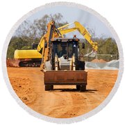 Construction Digger Round Beach Towel