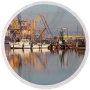 Construction Of Oil Platform With Boats Round Beach Towel
