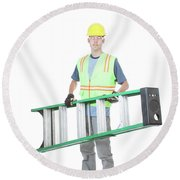 Construction Worker Carrying A Ladder Round Beach Towel