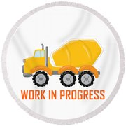Construction Zone - Concrete Truck Work In Progress Gifts - White Background Round Beach Towel
