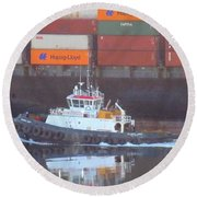 Container Ship And Tug Round Beach Towel