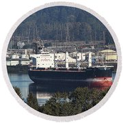Container Ship Ready To Load More Lumber Round Beach Towel