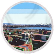Container Terminal Round Beach Towel