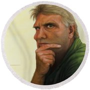 Contemplating The Blank Page Round Beach Towel by James W Johnson