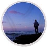 Contemplation At Sunset Round Beach Towel