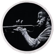 Contemporary Jazz Trumpeter Round Beach Towel