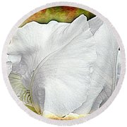 Contemporary White Iris Round Beach Towel