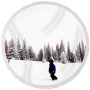 Continental Divide January 1 2000 Round Beach Towel