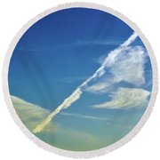 Contrails And Clouds Two  Round Beach Towel