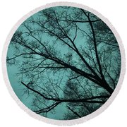 Contrasted Trees Round Beach Towel