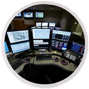 Control Room Center For Emergency Round Beach Towel by Terry Moore