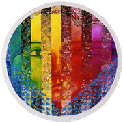 Conundrum I - Rainbow Woman Round Beach Towel