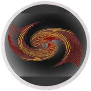 Convergence In Red And Gold Round Beach Towel