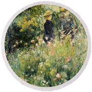 Conversation In A Rose Garden Round Beach Towel