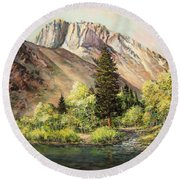 Convict Lake In May Round Beach Towel