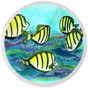 Convict Tang Fish #209 Round Beach Towel