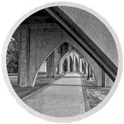 Conway River Walk Black And White Round Beach Towel