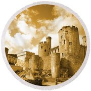 Conwy Castle And The Telford Suspension Bridge North Wales Round Beach Towel