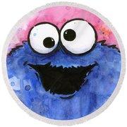 Cookie Monster Round Beach Towel by Olga Shvartsur