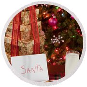 Cookies And Milk For Santa Round Beach Towel